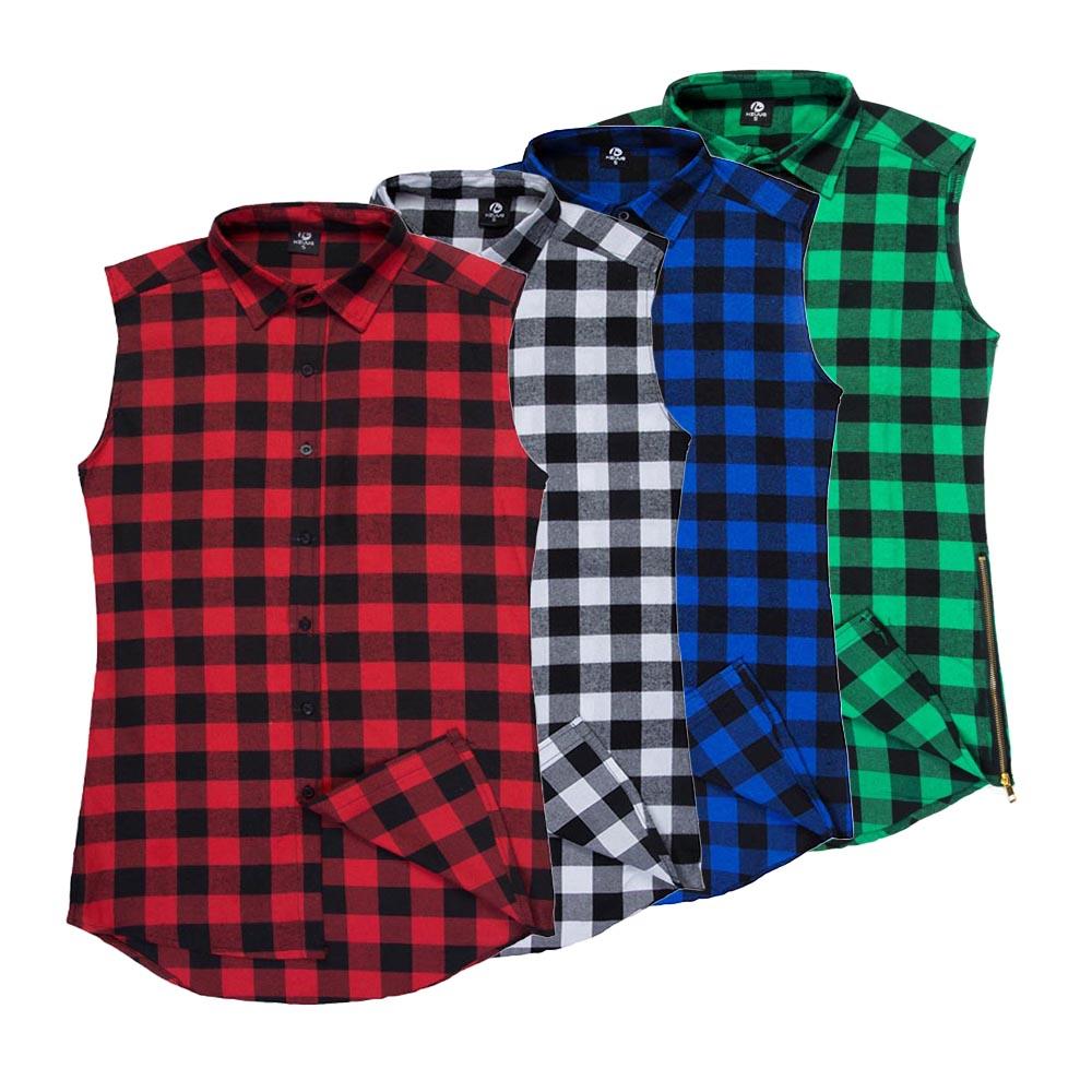 High Street Extend Side Zipper Plaid Shirt Men Fashion Brand Clothing New  2017 Summer Sleeveless Shirts - Compare Prices On Sleeveless Plaid Shirt Men- Online Shopping/Buy