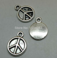 Free shipping wholesale 20pcs tibetan silver simple peace symbol disk charm pendant 11*15mm for jewelry making craft DIY
