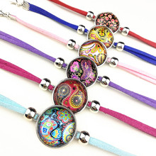 24pcs colorful Mandala rose Flower Bandanna Paisley Indian Buddhist retro style Glass Charm bracelet for girls women party gift