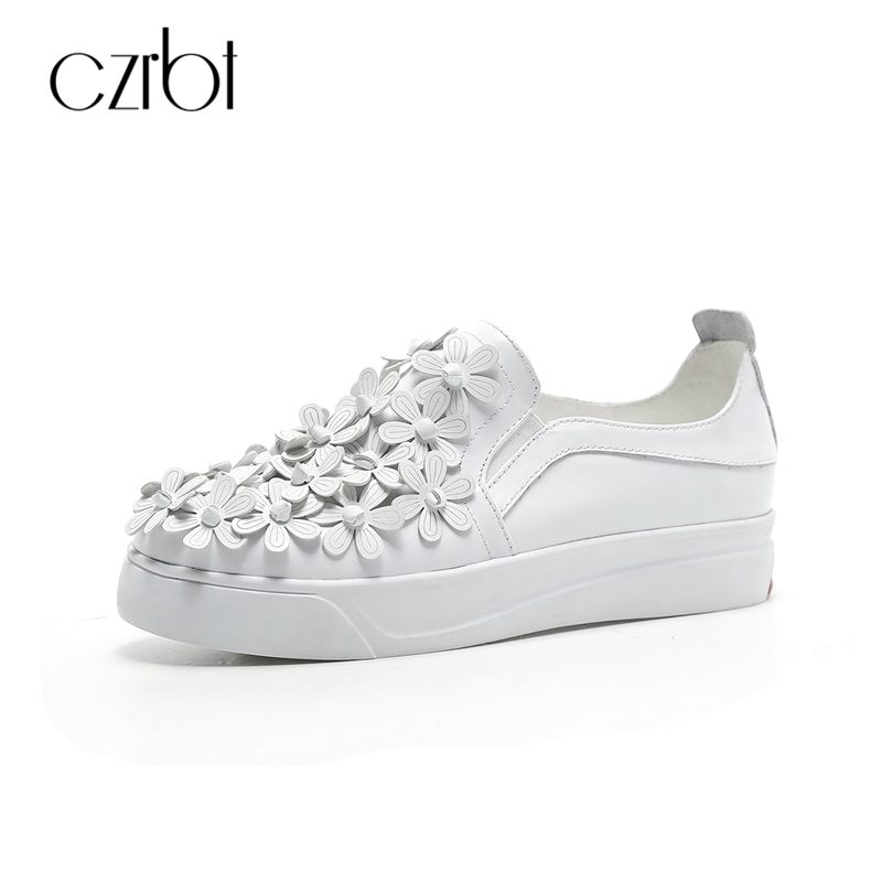 CZRBT High Quality Cow Suede Leather Women Loafers Spring Autumn Fashion Flats Solid Color Flower Decoration Casual Flat Shoes czrbt women loafers winter autumn genuine leather shallow mouth flat shoes woman fashion circle buckle solid color casual flats