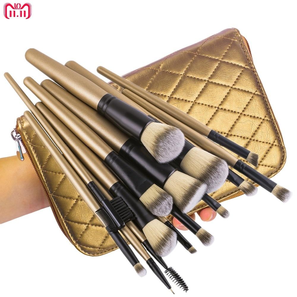 15Pcs Professional Makeup Brush Set Foundation Blusher Powder Eyeshadow Eyeliner Kabuki Brushes With Gold Zip Case лампа king page autumn a6 sx4 led