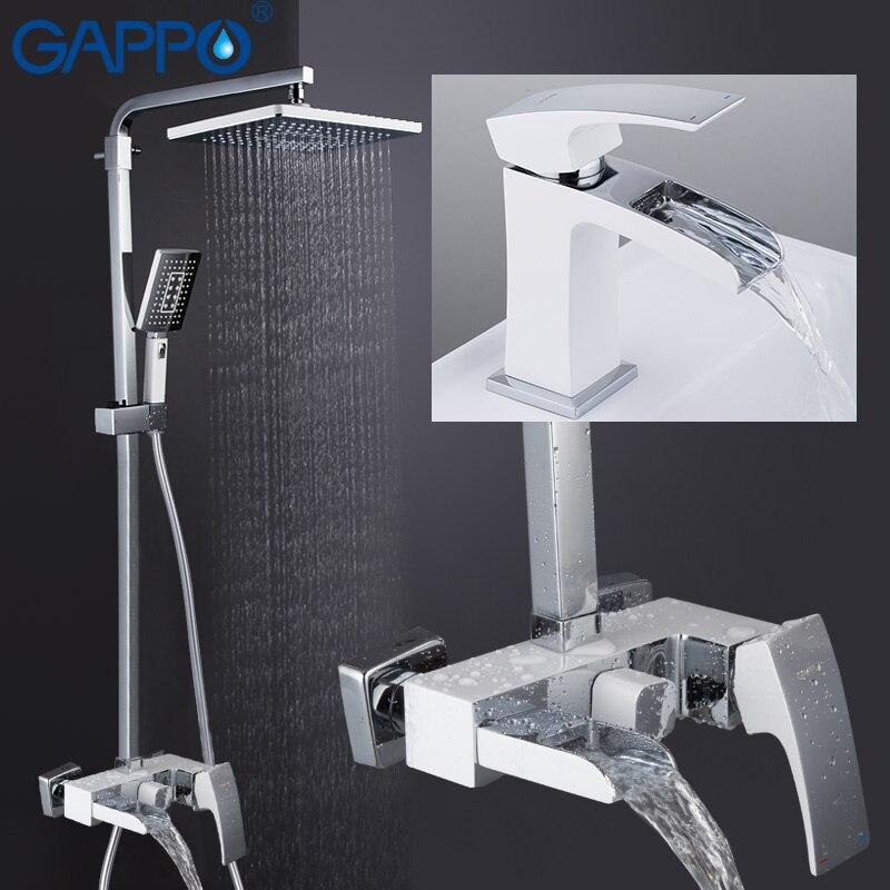 GAPPO Torneiras Chuveiro do banheiro banho de chuveiro torneira cachoeira shower head set fixado na parede torneira do banho de chuveiro sistema griferia