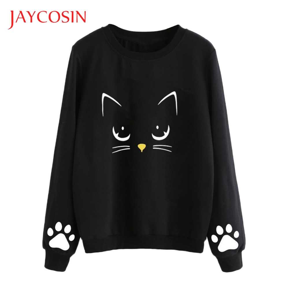 JAYCOSIN Autumn  Women And Winter Long Sleeve Cat Weater Round Neck  Regular Blouse Perfect Match With Your Favorite Shorts
