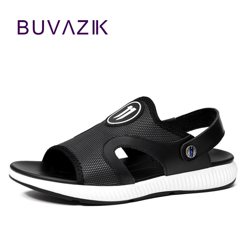 BUVAZIK 2018 summer beach sandals men genuine leather comfortable casual sandals waterproof outside men slippers big size 45 46
