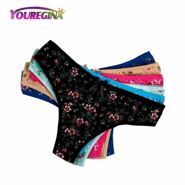 434aa65bcd5d YOUREGINA Women Sexy G-strings Thongs Underwear Cotton Panties Cute Flower  Floral Print Ladies Lingerie for Women 6pcs/lot