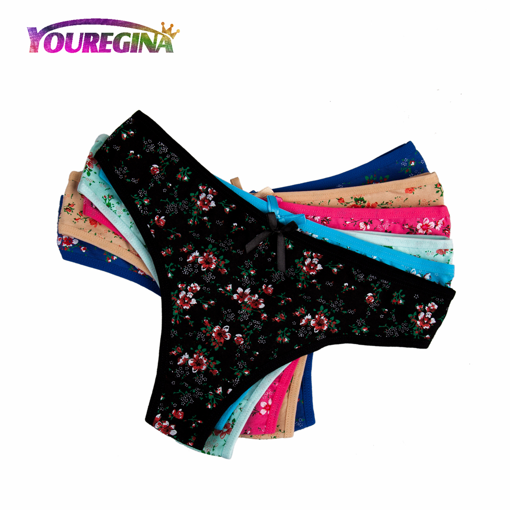 YOUREGINA Women Sexy G-strings Thongs Underwear Cotton   Panties   Cute Flower Floral Print Ladies Lingerie for Women 6pcs/lot