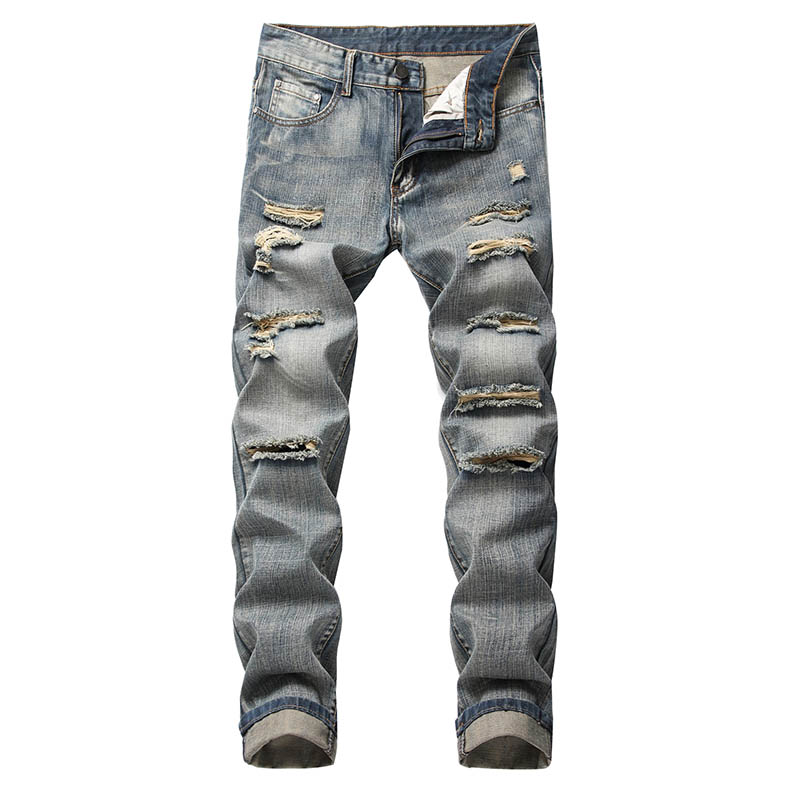 Mcikkny Men\`s Ripped Distressed Jeans Pants Washed Fashion Pleated Casual Denim Trousers Male Streetwear (5)
