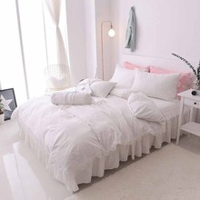 Princess luxury100% cotton wedding bedding set bed skirt lace style bed set duvet cover set king queen full size 7pcs
