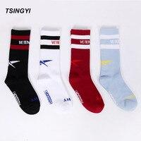 Tsingyi Fashion Men Vetements Striped Stockings Couple Sock Hip Hop Skateboard Middle Socks Justin Bieber Brand