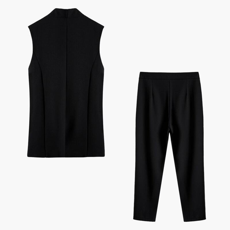 Black Noir V Haute Vintage Casual Pantalon Femmes Gilet Col Pièces Longues Ensembles Manches 2019 Femme 2 Taille Ensemble Getsring Mode WqwgHRH