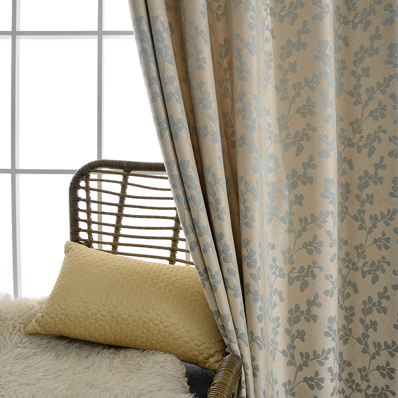 Curtains For Living Room  Yan-Modern Simple Chenille Jacquard Curtain Fabric