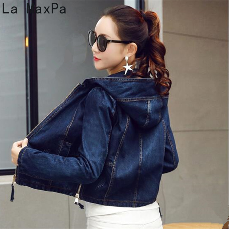 La MaxPa Denim   Jacket   Women Jeans   Basic     Jacket   Coat Hooded Outwear Slim Short Warm Overcoats Jeans Denim Female Coats &   Jackets