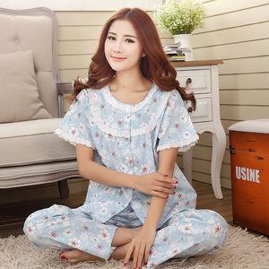 Image 3 - Pajamas Set Women Summer Mom Sexy Flower Cotton Pyjamas 2Piece/Set Long Pants Short Shirt Big Size Pregnant Home Mom Sleepwear