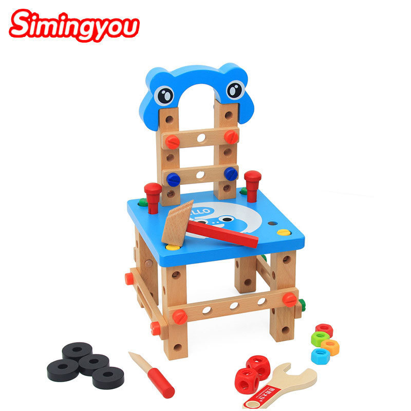 Simingyou Wood Toys Blue Variety Tool Chair Removal Chair Montessori Educational Wooden Toys For Children B40-A-38 Drop Shipping simingyou kids toys colored wood double sided magnetic children drawing board montessori c20 q 15 drop shipping