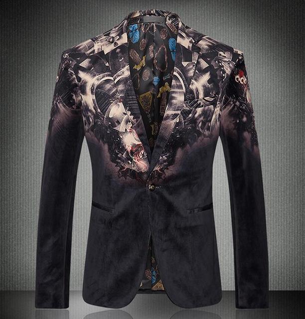 2016 nueva moda Casual llegada del banquete del vestido chaqueta para hombre alta calidad de hombre Blazer traje de flor delgada tendencia Fit escudo chaqueta Homme
