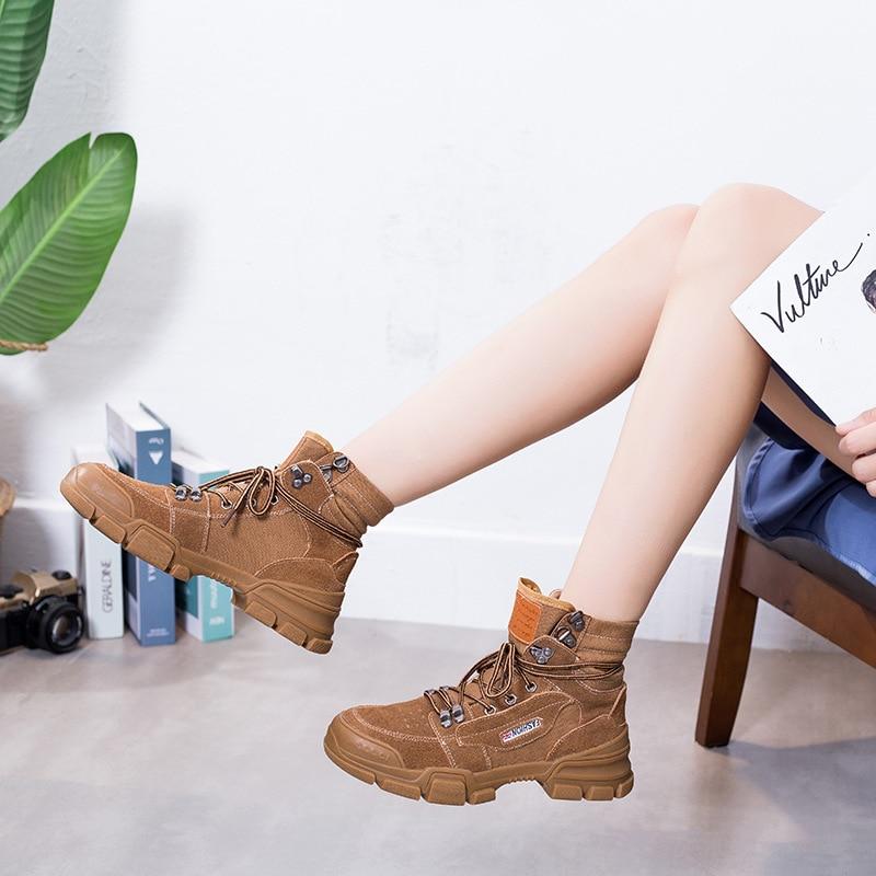 Farbe Stiefel Schwarzes Martin Stiefel Wilden Nicht Feste Trend Retro Mode Frauen Casual Stil slip Herbst Komfortable Einfache 2018 brown Neue CSxqfwXfR
