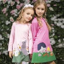 0681f0420f485 Offre spéciale vêtement fille Pour Les Filles Printemps Enfants Fille Robes  Animaux Applique robe de soirée à manches longues En..