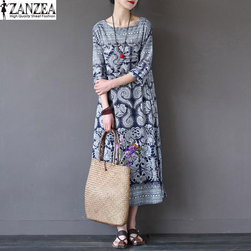 Zanzea mujeres de la vendimia floja bolsillos de algodón de lino de la impresión