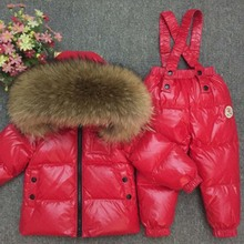 цена на 2019 Winter Jacket Kids Snowsuit Children Down Jackets For Boys Girls  Baby Overalls Toddler Hooded Fur Parka Coat Clothing Set