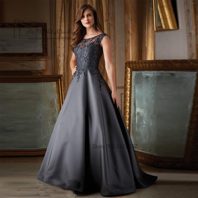 Cinza escuro Marrom Longo Evening Vestidos Lace Frisada Satin Mãe Elegante dos Vestidos de Noiva Plus Size Robe de Soirée Vestido Sociais