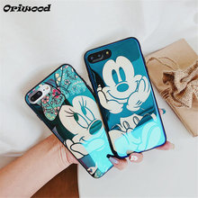 Electroplate Blue Light Soft Phone Cover for iPhone X 6 6s 7 8 Cartoon Minnie Mickey Mouse Phone Case for iPhone 6 6s 7 8 PLus