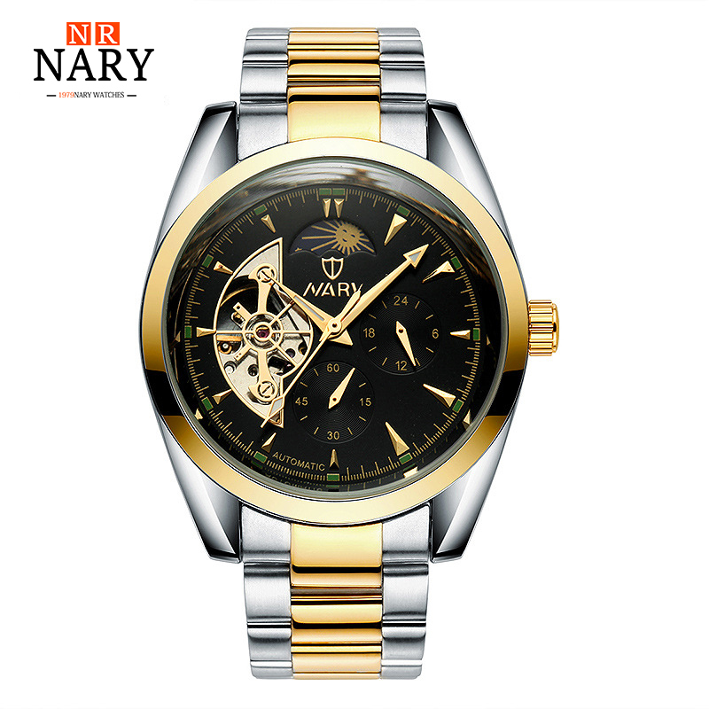 NARY Skeleton Tourbillon Mechanical Watch Automatic Men Classic Golden Stainless Steel Mechanical Wrist Watches Reloj Hombre lige skeleton tourbillon mechanical watch men automatic classic mechanical stainless steel wrist watches reloj hombre 2017