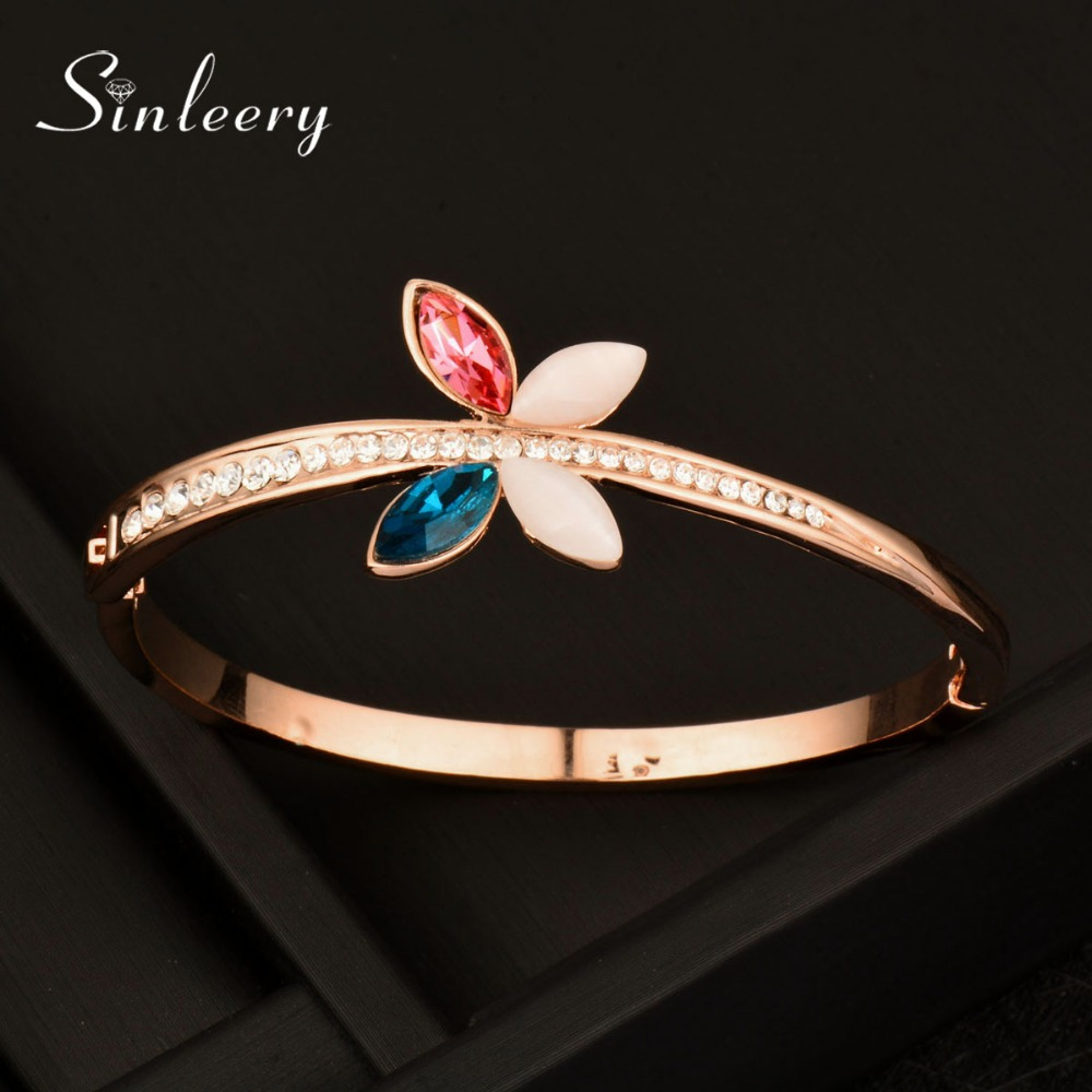 SINLEERY High Quality Charm Opal & Genuine Cubic Zircon Butterfly Bracelet Bangle Rose Gold Color Sl266 SSA