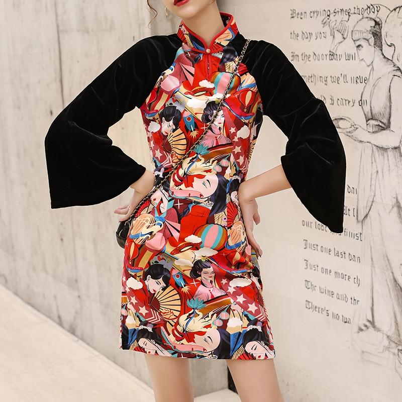 2019 Modern Asian Japanese Cheongsam Style Dress