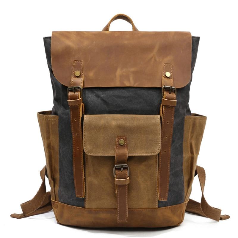 Morral Vintage De Hombre Shoulder Backpack Computer Schoolbag Man Laptop Backpack Bookbag Vintage Wax Waterproof Canvas Bag