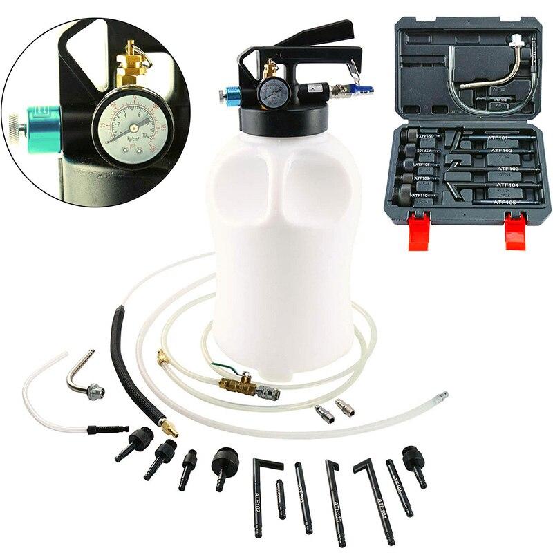 6L 10L Pneumatic Transmission Oil Filling Tool Fluid Extractor Dispenser Refill Pump Tool Kit With 13pcs ATF Adaptor