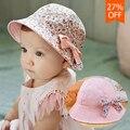 Nueva impresión de la flor de algodón sombrero del bebé del verano muchachas de los cabritos floral bowknot cap sol sombreros del cubo doble cara puede llevar gorro