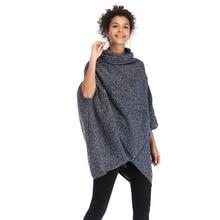 Women Cloak Loose Knitting Woolen Coat Casual irregular Trench Coat Poncho Shawls Winter