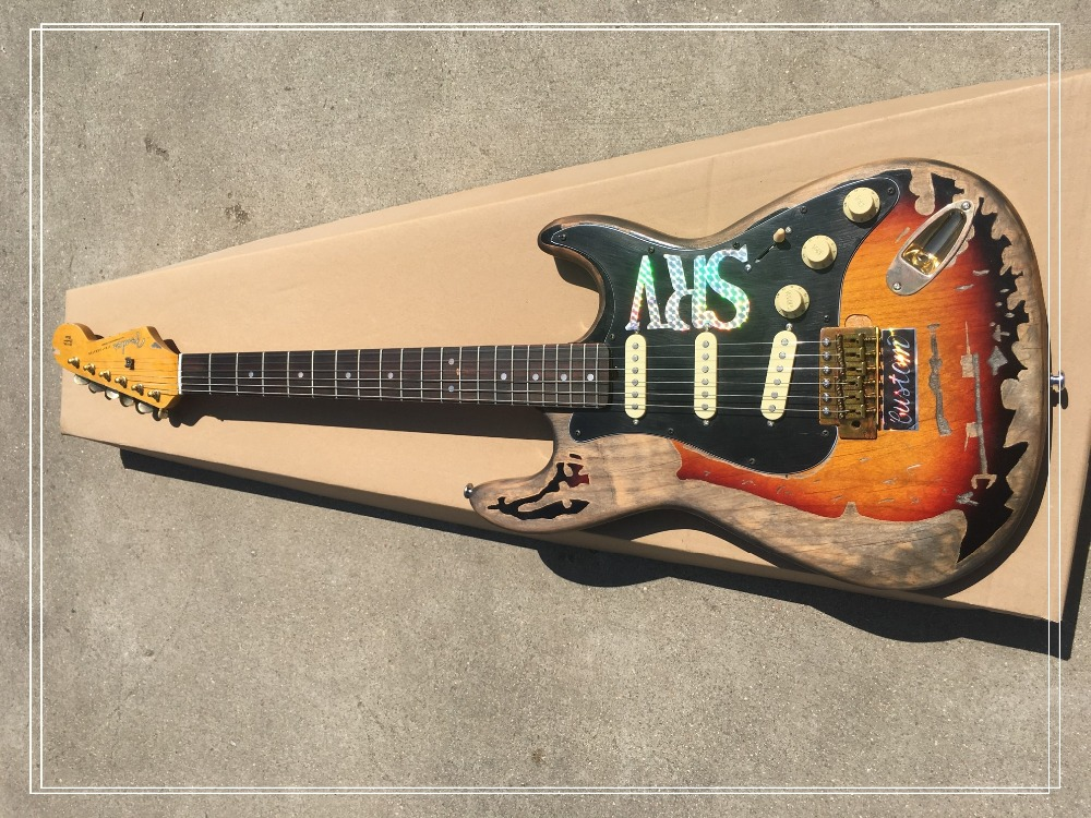 Hot sales aged electric guitar free shipping SRV Retro relics ST Picture real shot