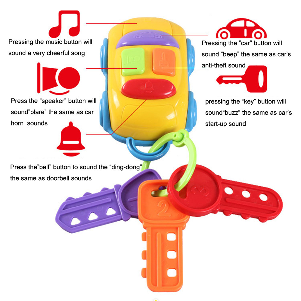 Kid Fun Novelty Toy Gift Anti-stress Children Vintage Baby Toddler Learning Fun Toy CIKOO Music Car Wash Keys Educational Toys