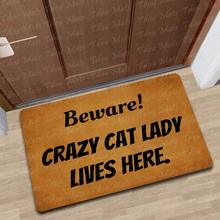 Doormat Entrance Floor Mat A Crazy Cat Lady Lives Here Rubber Non-Slip Rug Balcony Funny Home Decor