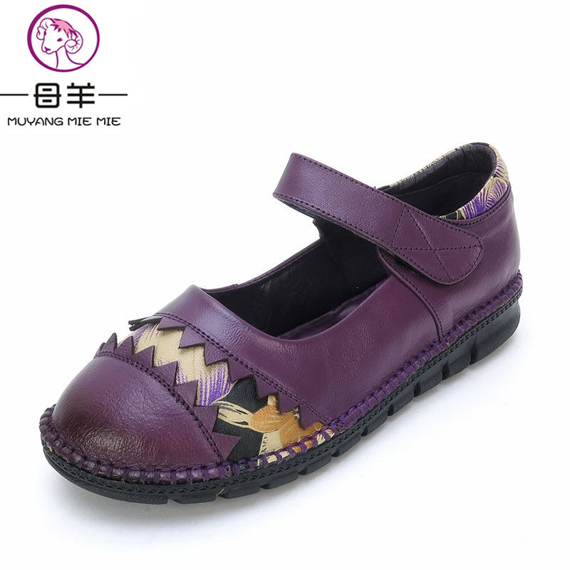 MUYANG MIE MIE 2018 Women Flats New Genuine Leather Handmade Flat Shoes Woman Casual Shoes Comfortable Women Shoes women s shoes 2017 summer new fashion footwear women s air network flat shoes breathable comfortable casual shoes jdt103
