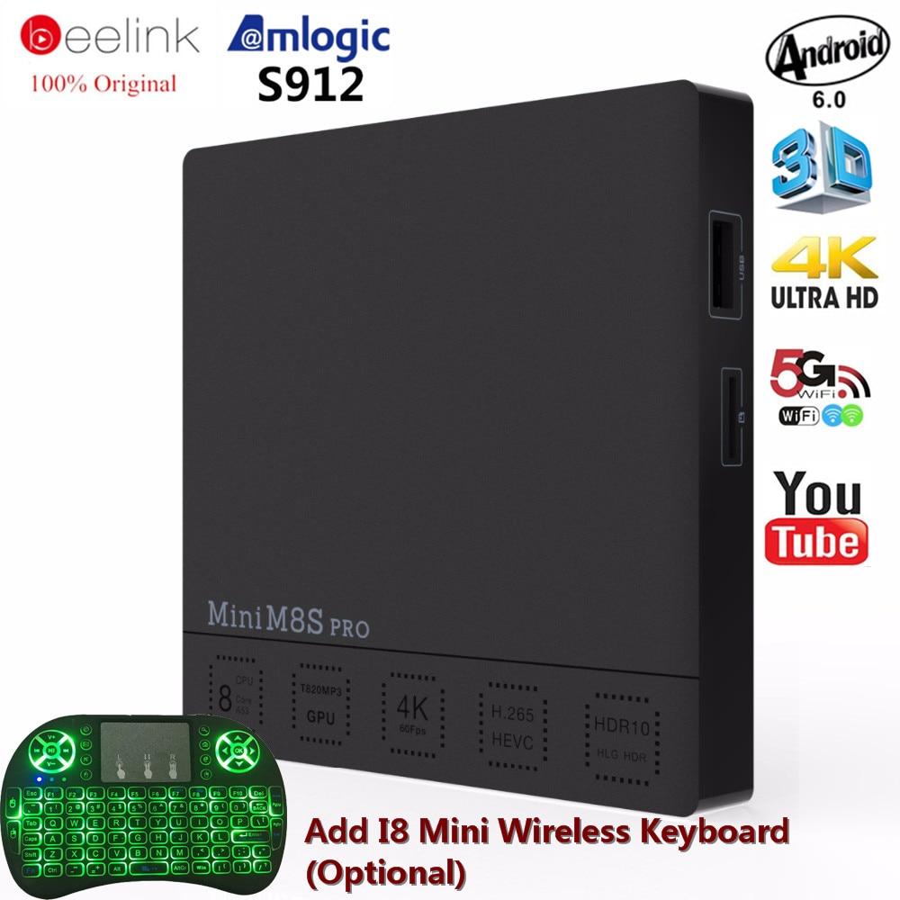Beelink Mini M8S PRO Smart Android6.0 TV Box 4k ultra HD Amlogic S912 Octa Core Cortex A53 64Bit 2G 16G 5G WIFI Set-top Box тв модуль ci триколор k m evr единый ultra hd европа
