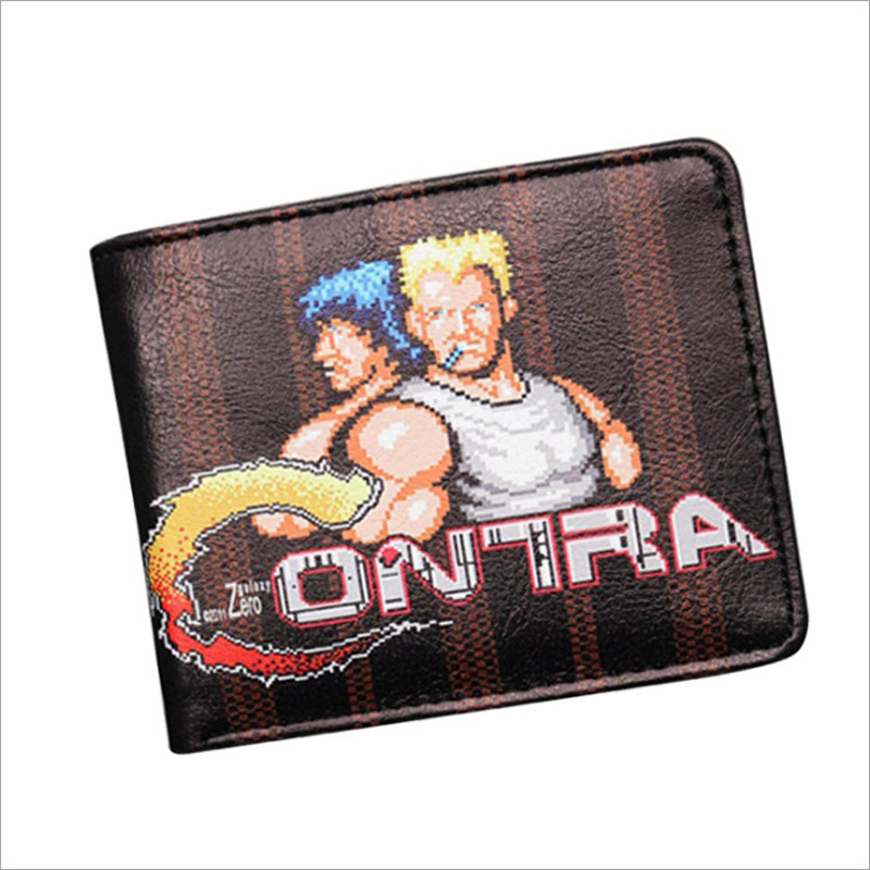 New Arrival Contra Games Anime Men Wallet Cool Short Leather Pocket Purse Photo Holder Money Bag For Anime Games Fans Gift anime cartoon pocket monster pokemon wallet pikachu wallet leather student money bag card holder purse