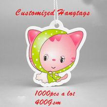 1000pcs per lot 400gsm Custom Garment paper tags and Bags Shoes Hangtag with rope DIY card with your own logo and size shape