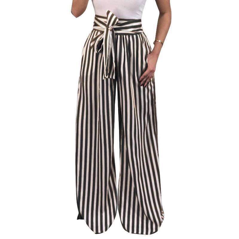 538bdfd96e117 Mujeres 2017 otoño ancho pierna pantalones moda ol alta cintura pantalones  arco corbata vintage tiras impresa pantalones casuales pantalones sueltos