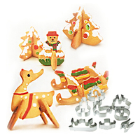 Merry Christmas 8 Pcs Lot Suit Card Packaging Stainless Steel Cookies Cutter Mold Cake Rice Molded