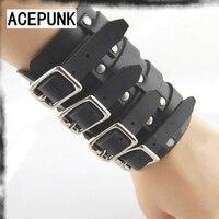 Thời trang 4 Buckles Kim Loại Da Bracer Punk Phong Cách Cổ Tay Đảng Mens Rộng Vòng Tay Wristband Điều Chỉnh Pulseira Masculina