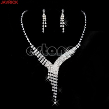 Crystal Rhinestone Earrings Necklace Wedding Prom Bridal Bridesmaid Jewelry Set #H058#