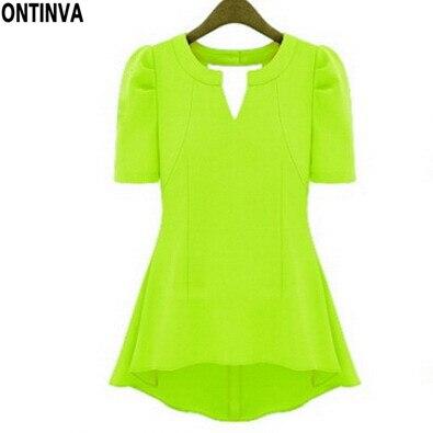 echt kaufen heißer Verkauf online Billiger Preis Sommer Stil Neon Gelb Grün Casual Shirt Frauen Chiffon Damen ...