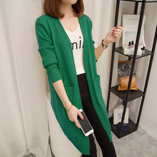 Long section long-sleeved sweater jacket new autumn winter womens solid color large size outside cardigan A342