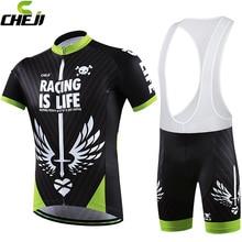 Cheji Brand 2016 Sword Heart Cycling Jerseys Set Bike Clothing Black Green