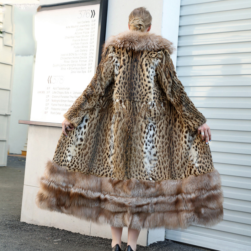 FURSARCAR Luxury Whole Skin With Fox Big Lapel Collar Removable Bottom Women Winter Coat New Arrival X-Long Real Beaver Fur Coat