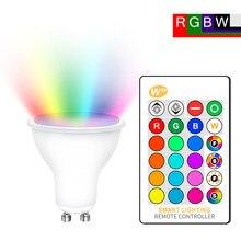 Gu10 conduziu a lâmpada rgb 8w rgbw rgbww gu10 conduziu a luz 220v 110v rgb lâmpada bombillas conduziu gu 10 16 cores com controle remoto