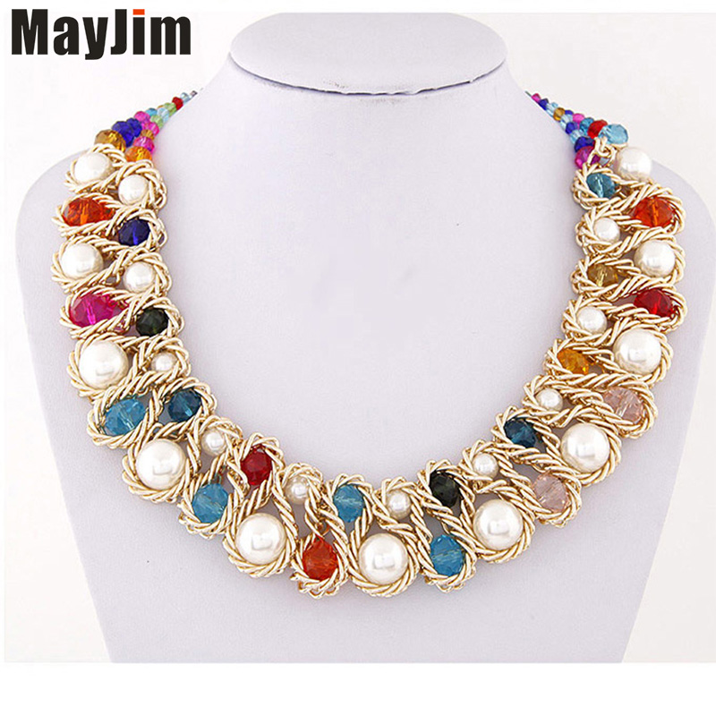 Wholesale 12pcs Statement necklace Fashion for Women 2018 Big Gold Chain Crystal Choker pearl Necklaces & Pendants Accessories