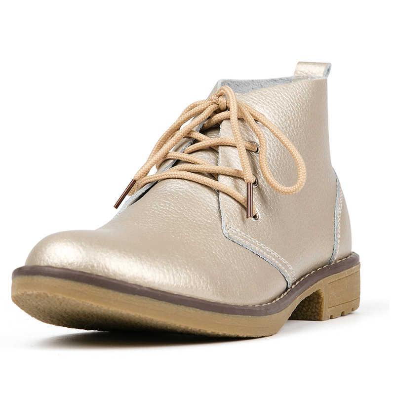 WeiDeng Genuino di Cuoio Della Caviglia Stivali Donna Classico Matin di Modo Appartamenti di Inverno Lace Up High Top Casual Scarpe Impermeabili Femminile